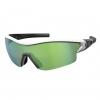LEAP SUNGL white glossy/black green chrome